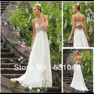 Dresses & Skirts - Sweetheart Strapless White Chiffon Wedding Dress